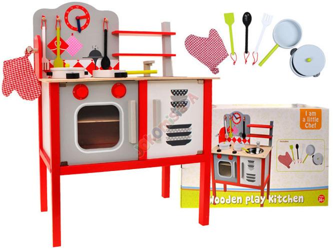 DREWNIANA kuchnia KUCHENKA dla dzieci + garnki Zabawki AGD -> Kuchnie Dla Dzieci Smyk