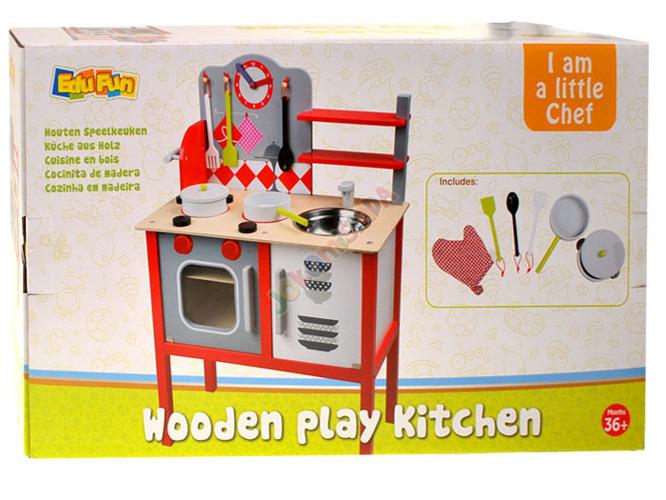 DREWNIANA kuchnia KUCHENKA dla dzieci + garnki Zabawki AGD -> Kuchnia Dla Dzieci Na Baterie