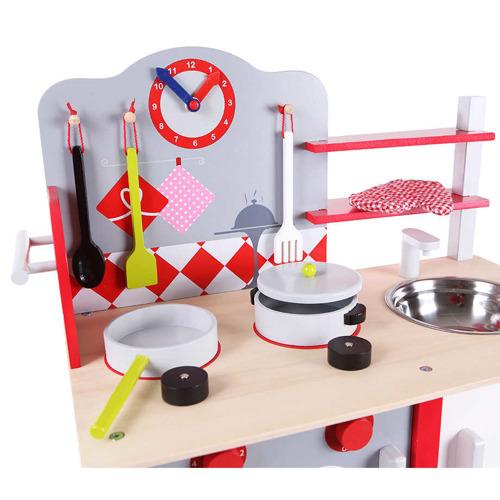 Duża KUCHNIA DREWNIANA Z WYPOSAŻENIEM DLA DZIECI Zabawki agh kuchnie